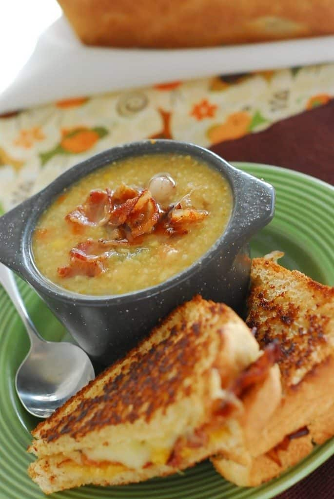Corn Chowder and Grilled Bacon sandwiches