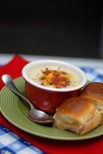 Baked Potato Soup With Hot Ham And Cheese Sandwiches