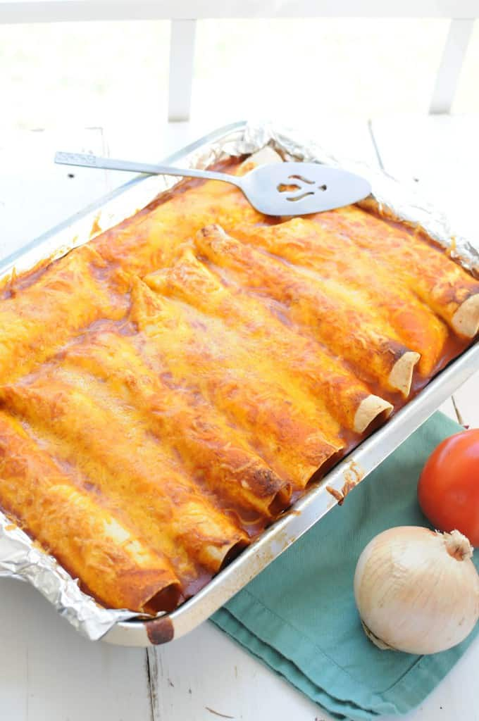 Easy Chicken Enchiladas with Homemade Sauce