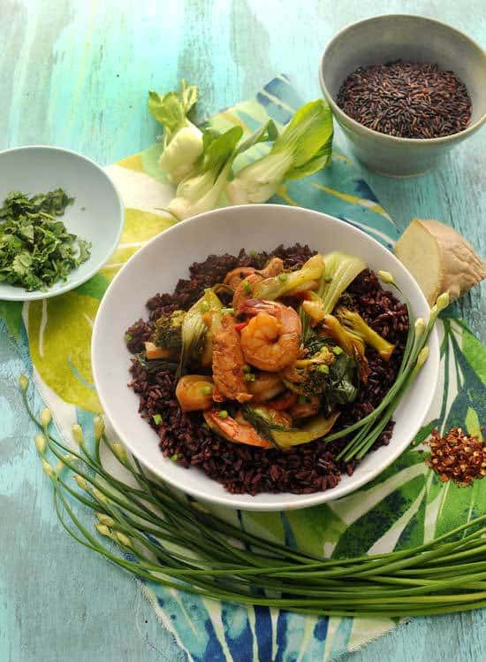 Shrimp and Chicken Stirfry with Black Rice