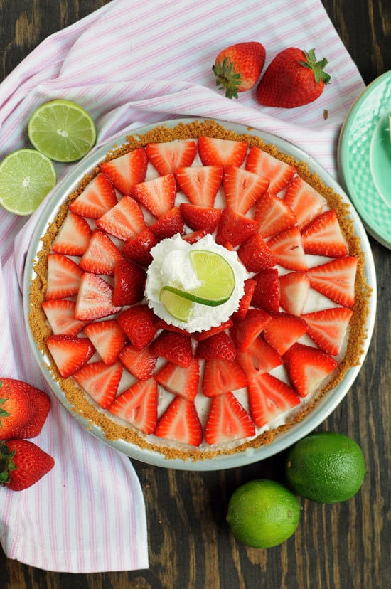 No Bake Strawberry Buttermilk Key Lime Pie